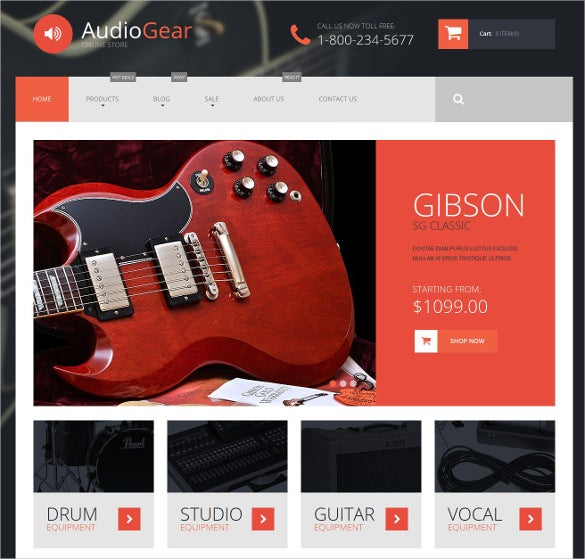 musical instruments shopify bootstrap blog theme