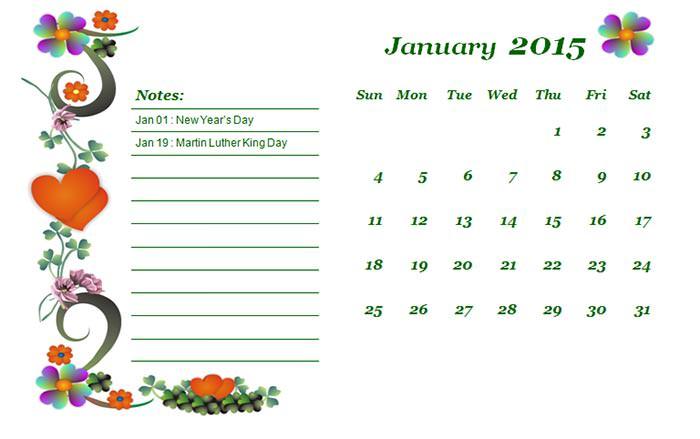 2015 monthly calendar landscape 2