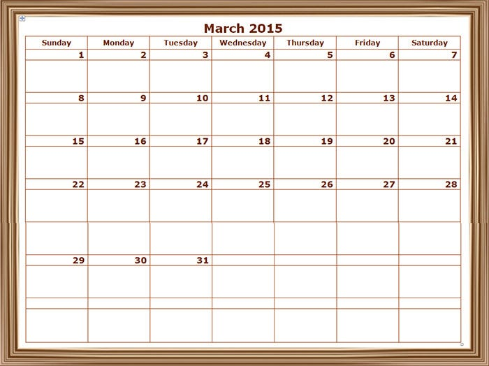 2015 monthly calendar landscape 7