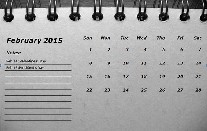 2015 monthly calendar landscape