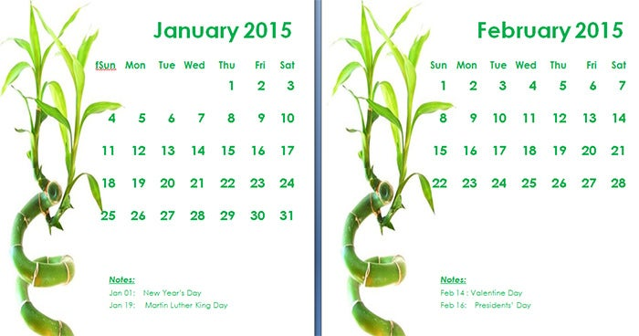 2015 monthly calendar landscape11
