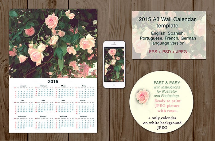 2015 multilanguage wall calendar