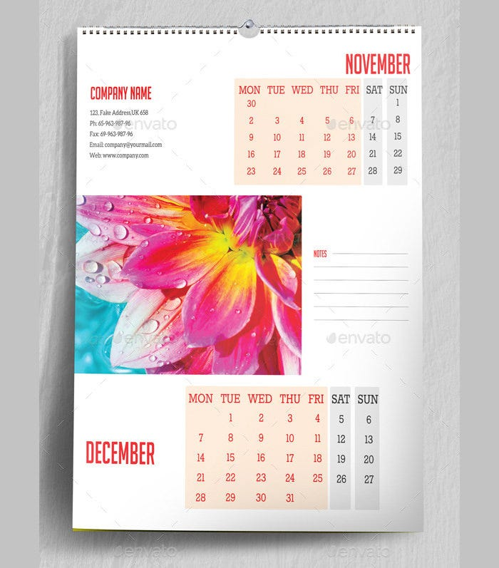 2015 multipurpose wall calendar template