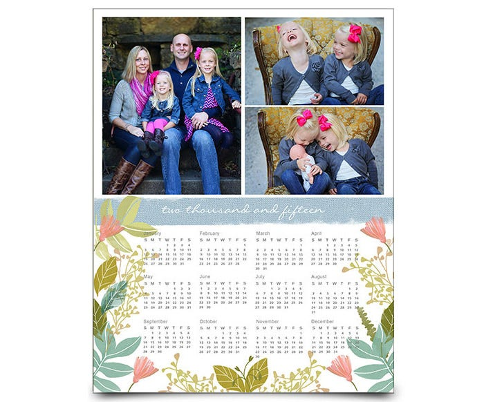 2015 photo calendar photoshop template