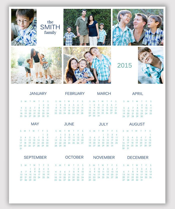 2015 simple 6 photo calendar