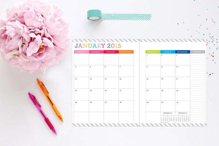 2015 two page layout calendar