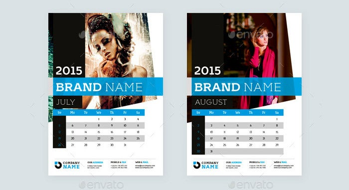 2015 wall calendar template design