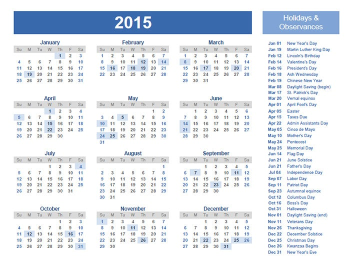 40 sample 2015 calendar templates designs free free for Yearly vacation calendar template