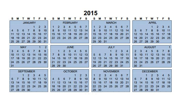 2015 calendar 3years