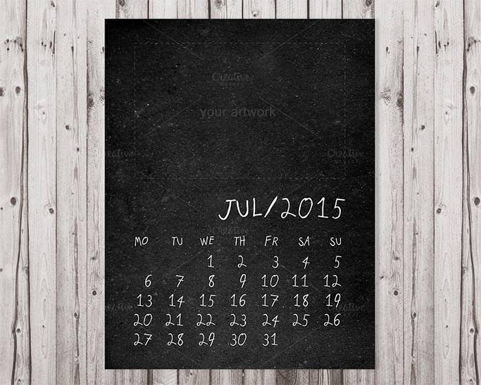 2015 chalkboard printable calendar