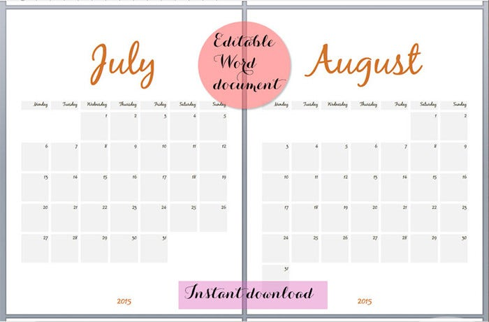 25 Best Editable Calendar Templates 2015 Designs – Printable Calendar Template