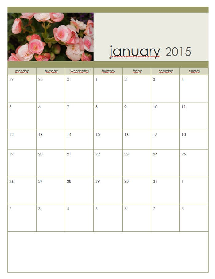2015 monthly photo calendar