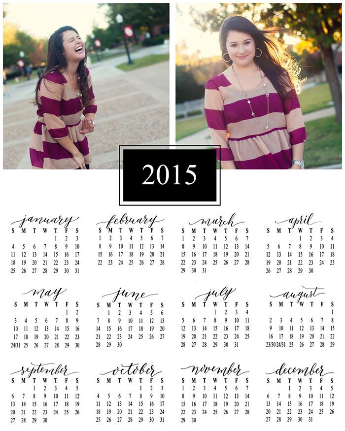 2015 wall calendar template