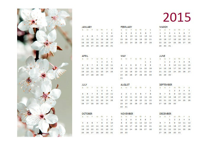 2015 yearly photo calendar sun sat