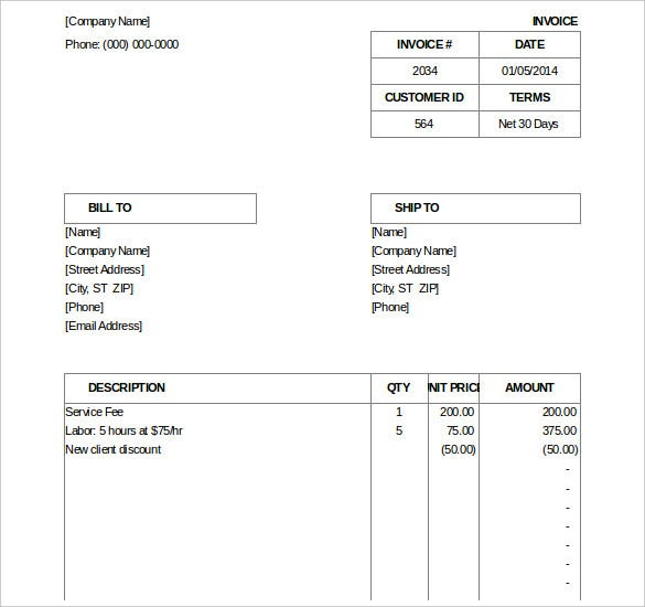 Excel Invoice Template Free Excel Documents Download Free - Billing invoices templates