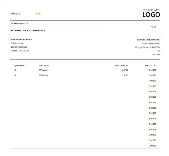 Wonderful Excel Invoice Template Free. Download Within Free Invoice Template Download For Excel