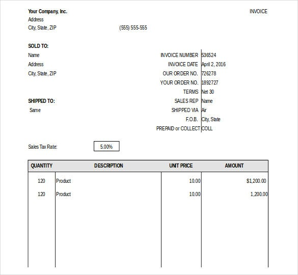 general invoice template