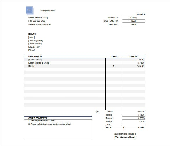 Free Invoice Template In Excel