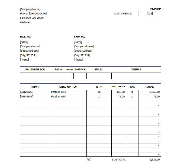 Excel Invoice Template   Free Excel Documents Download  Free