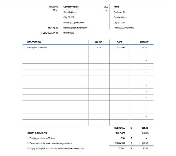 excel invoicing template
