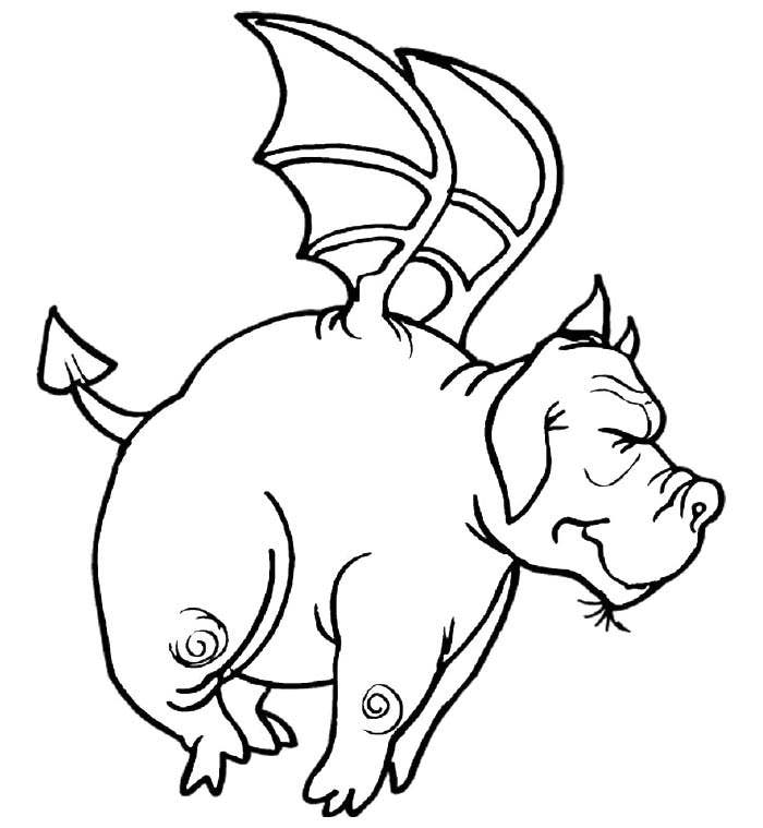 Funny Flying Dragon Coloring Page Template