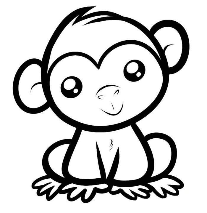 baby monkey template - Cute Animal Coloring Pages