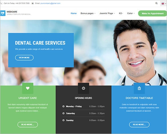 hospitals and clinics joomla template free download