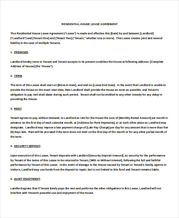 Free Template For Rental Agreement