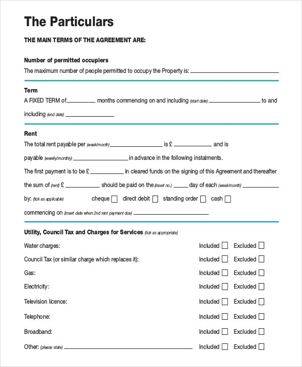 Month to month rental agreement template 12 free word for Letting agreement template free