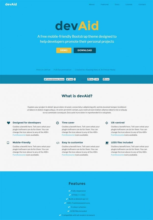 devaid free bootstrap theme for developers min