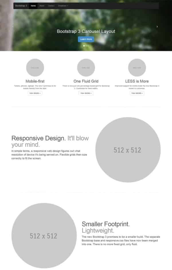 Slider Bootstrap Template 2016