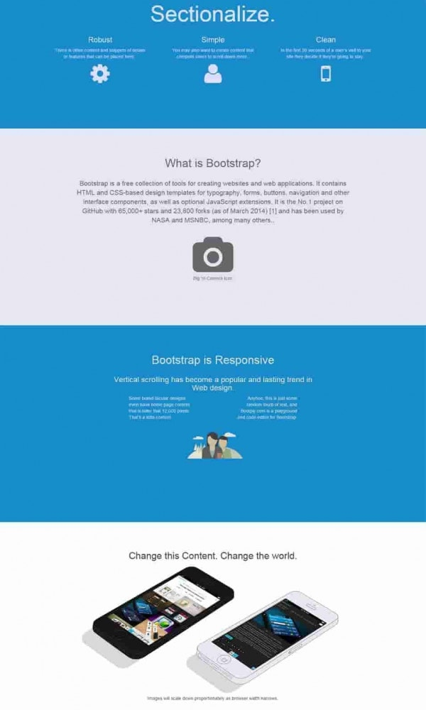 sectionalize free bootstrap template