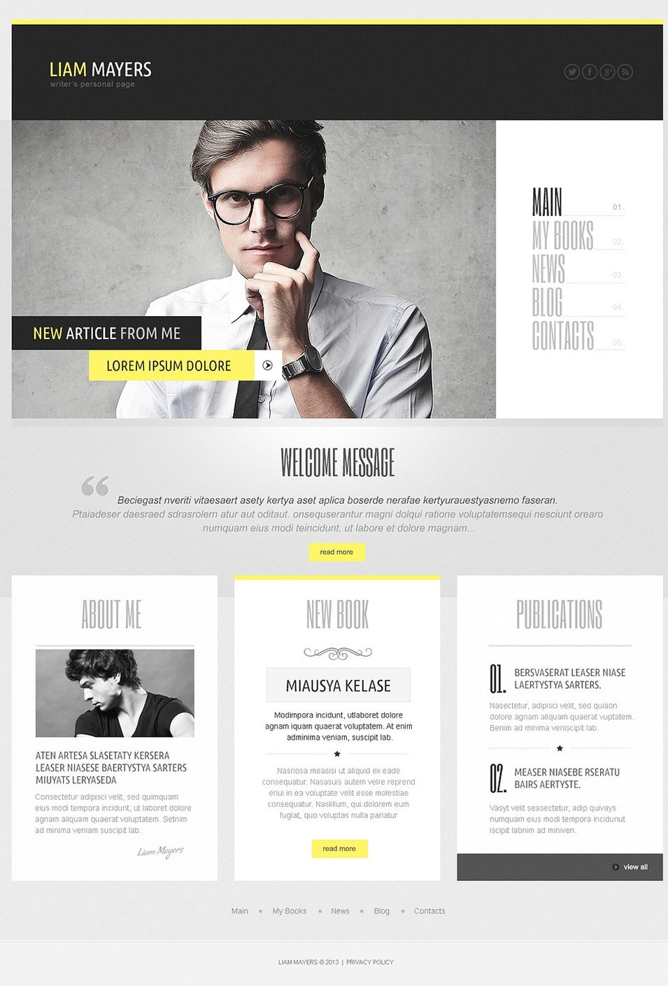 Writer's Personal Page WordPress Theme