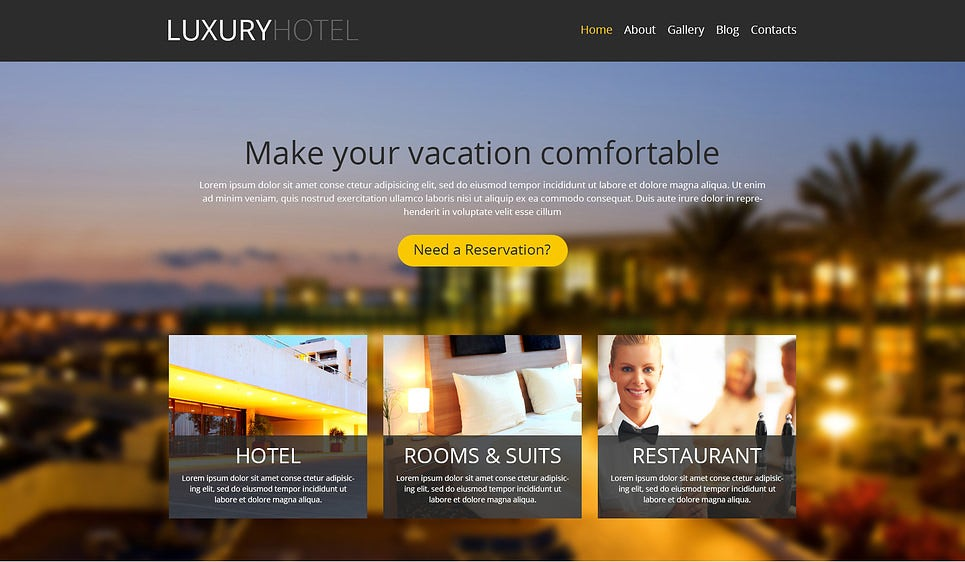 Modern Hotel Business WordPress Theme