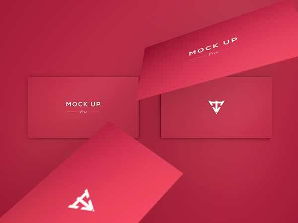 6 business cards mock up free psd