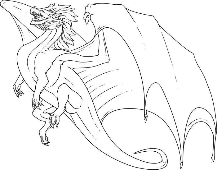 simple flying dragon coloring page
