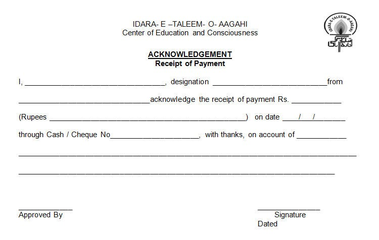 Acknowledgement OF Payment Receipt  Cheque Payment Receipt Format In Word
