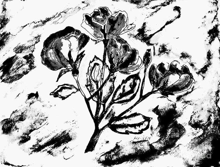 abstract flower bw painting