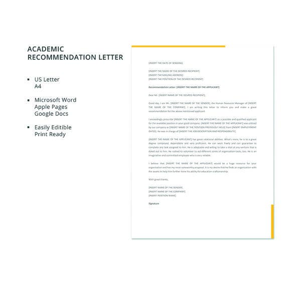 Academic Recommendation Letter