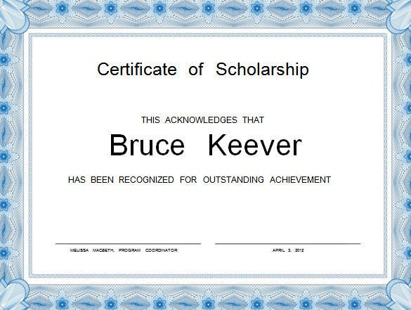 achievement scholorship certificate template