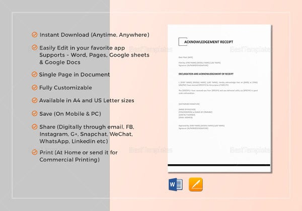 acknowledgement receipt template in ipages
