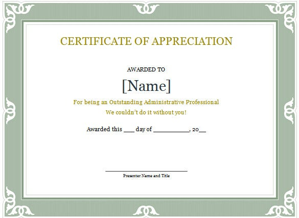 Administrative Professional Appreciation Certificate Word  Certificate Of Appreciation Words