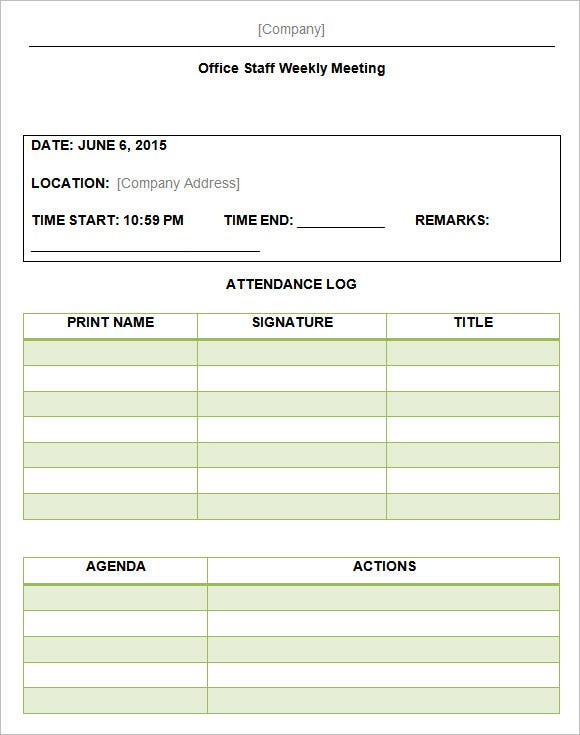 meeting minutes and actions template