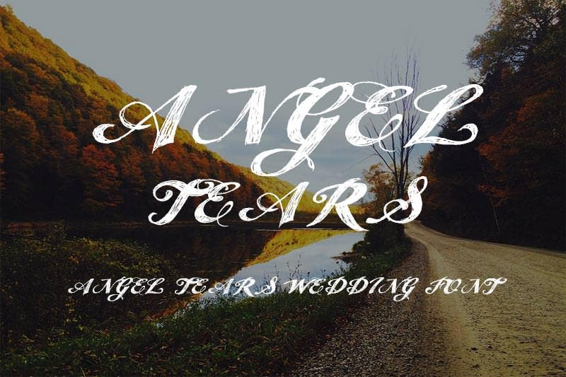 angel tears wedding font
