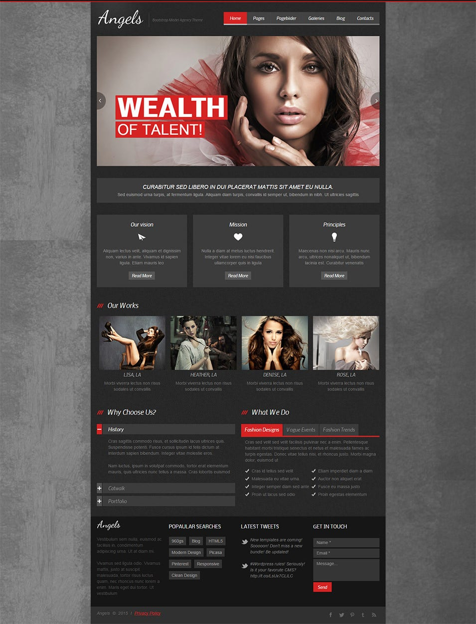 angels bootstrap model agency theme