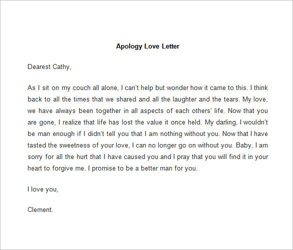 Apology letter to husband for lying