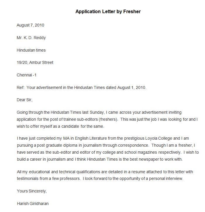 templates job application letters
