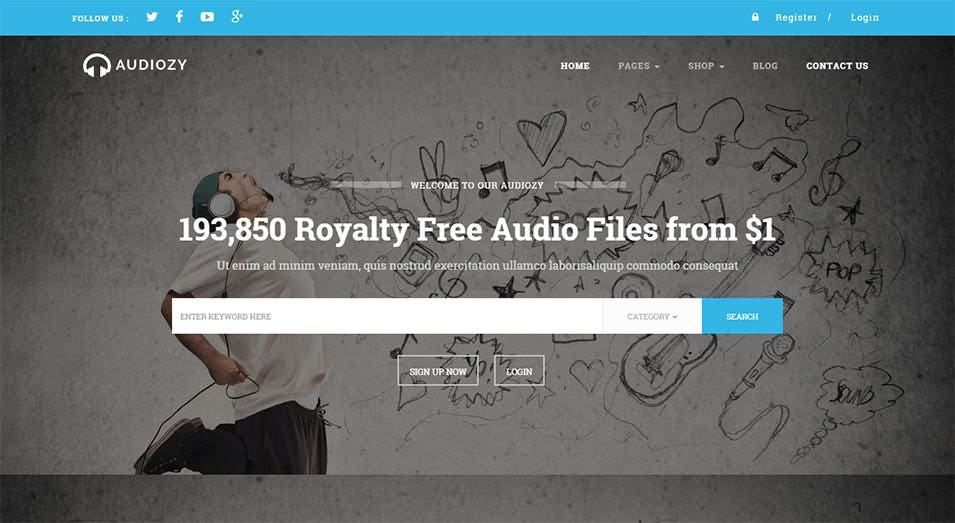 audiozy wordpress music store