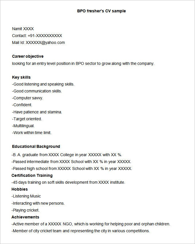 bpo fresher's cv sample