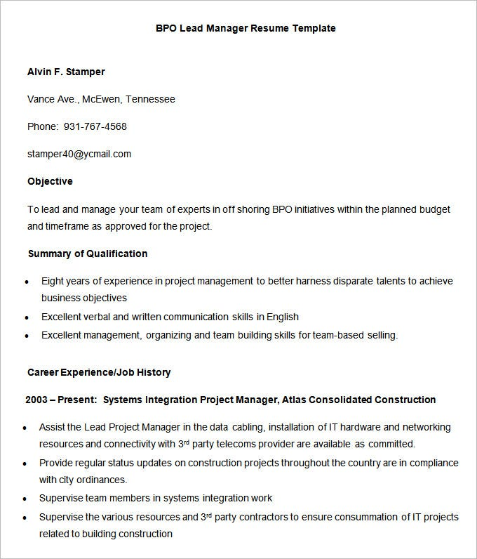bpo lead manager resume template sample - Standard Resume Format
